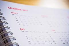 Monate und Daten am Kalender Lizenzfreies Stockbild