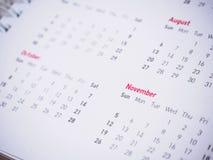 Monate und Daten am neuen Jahr des Kalenders Lizenzfreies Stockfoto
