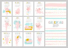 Monatlicher kreativer Kalender 2019 mit nettem Schwein Konzept, vertikale editable Schablone des Vektors Symbol des Jahres in lizenzfreie abbildung