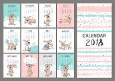 Monatlicher Kreativer Kalender 2018 Mit Netten Tieren Konzept ...