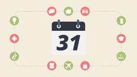 Monatsausgabe und Zahlung, flache Designillustration Stockfoto