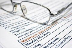 Monatsausgabenplan Lizenzfreies Stockfoto