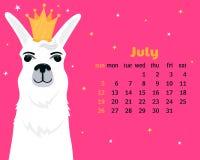 Monatskalender für Juli 2020 von Sonntag bis Samstag Nettes Lama in der goldenen Krone Alpakazeichentrickfilm-figur Lustiges Tier stock abbildung