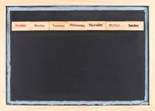 Monatskalender mit Wochenwortdruck Stockbilder