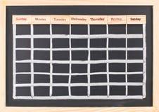 Monatskalender mit Wochenwortdruck Lizenzfreie Stockfotos