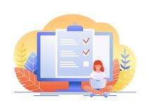 Monatsplanung, Liste tun, Zeitmanagement Frau sitzt mit Laptop und arbeitet mit Daten nahe Großrechnermonitor flach lizenzfreie abbildung