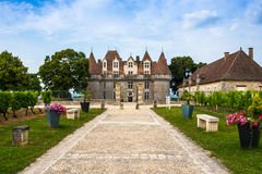 Monbazillac Castle με τον αμπελώνα, Aquitaine, Γαλλία Στοκ εικόνες με δικαίωμα ελεύθερης χρήσης