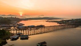 Monbrug, Sangkhlaburi, Kanchanaburi, Thailand, Azië Stock Fotografie