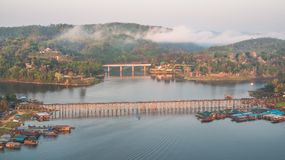 Monbrug, Sangkhlaburi, Kanchanaburi, Thailand, Azië Royalty-vrije Stock Afbeeldingen