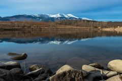 Moncayo reflection water stock image