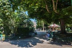 The Monceau garden in Paris Stock Photo