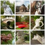 Monceau Park in Paris collage Stock Images