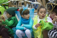 Carnival in Portugal. Monchique, Algarve, Portugal. Circa February 2018. Children dressed up in Carnival costumes to celebrate the annual Portuguese Carnival in Royalty Free Stock Photography