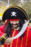 Carnival in Portugal. Monchique, Algarve, Portugal. Circa February 2018. Man dressed up in pirate Carnival costume to celebrate the annual Portuguese Carnival in Royalty Free Stock Image