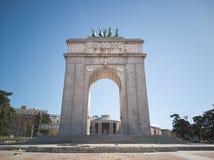 Moncloa España de Madrid del arco del monumento Foto de archivo