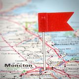 Moncton, Canada. Moncton in New Brunswick, Canada. Red flag pin on an old map showing travel destination. Square composition stock photography
