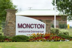 Moncton City Sign - Canada. Moncton City Sign in Canada Royalty Free Stock Image