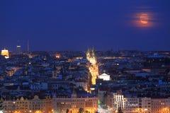 Mond über Prag Lizenzfreies Stockfoto