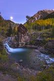 Mond-Aufstieg Crystal Mill Colorado Landscape Stockfotos