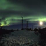 Mond-Aurora und Antennen Lizenzfreie Stockfotografie
