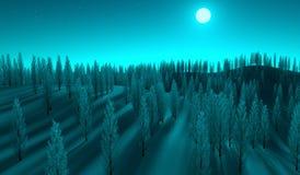 Mond beleuchteter Wald Lizenzfreies Stockfoto