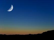 Mond an der Dämmerung Stockfotografie
