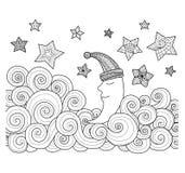 Mond, der unter Sterne zentangle Design für Malbuch für Erwachsenen schläft Lizenzfreie Stockbilder