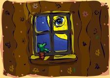 Mond im Fenster Lizenzfreie Stockfotografie