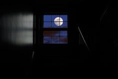 Mond im Fenster Stockfotos