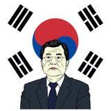 Mond Jae-in, Präsident von Südkorea mit Flaggen-Hintergrund-Porträt-flachem Vektor-Design, Karikatur Stockbild