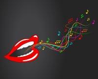 Mond, lippen - de vector, muziek, zingt, nota's Stock Fotografie