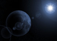 Mond mit sunrize im Platz Lizenzfreie Stockfotos