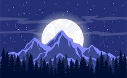 Mond-, Mondschein-, Rocky Mountains- und Kieferwaldhintergrund Vector Illustration Lizenzfreie Stockfotos