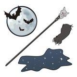 Mond, Nacht, Stock und Tatze Lizenzfreies Stockbild