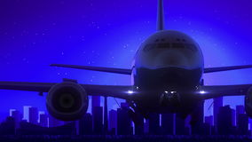 Mond-Nachtblaue Skyline-Reise Calgarys Alberta Canada Airplane Take Off lizenzfreie abbildung