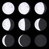 Mond-Phasen: Neumond, Vollmond, Halbmond Satz Vektor illust Stockfotografie