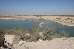 The Mond river in Bushehr province near the Persian Gulf, Iran. The rivers in Bushehr province around the Persian gulf dry up during the dry season. Many Stock Photo