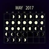 Mond teilt Kalender für 2017 in Phasen ein may Auch im corel abgehobenen Betrag Lizenzfreie Stockfotografie