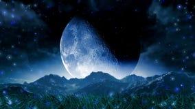 Mond-Traumlandschaftsszenische Raum-Animation lizenzfreie abbildung