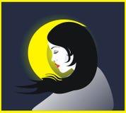 Mond u. Mädchen stock abbildung