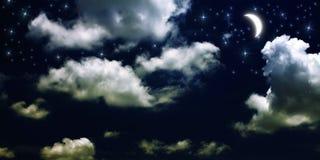 Mond und auf lagerfoto der Sterne Stockbild