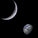 Mond und Erde. Stockbild
