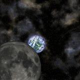 Mond und Erde Lizenzfreie Abbildung