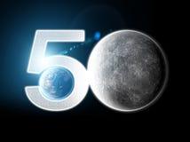 Mond und Erde gesehen vom Raum Mondoberfl?che und Erde im Hintergrund 50. Jahrestag der Mondlandung stock abbildung