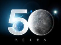 Mond und Erde gesehen vom Raum Mondoberfl?che und Erde im Hintergrund 50. Jahrestag der Mondlandung vektor abbildung