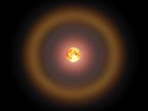 Mond und Korona des vollen Bluts im nächtlichen Himmel Stockbild