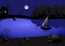 Mond und Segel stock abbildung