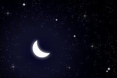 Mond und Stern im Himmel Lizenzfreie Stockbilder