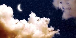Mond und Stern-Tapete Lizenzfreie Stockfotos