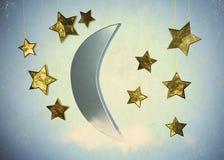 Mond und Sterne Stockfotografie